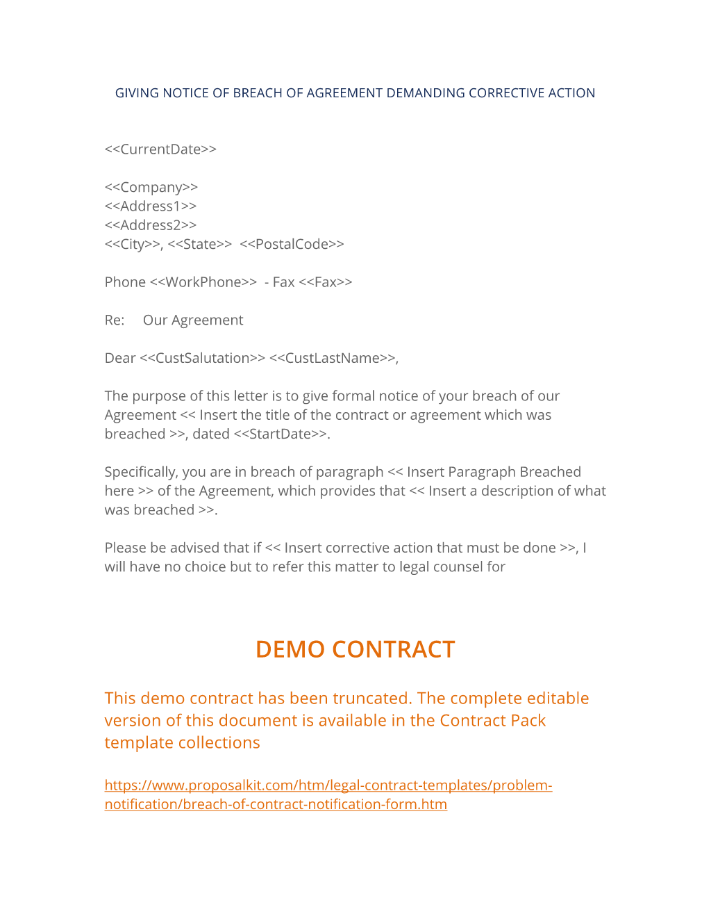 Breach of Contract Notification Form