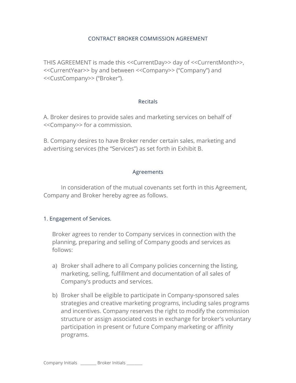 Broker commission sales agreement for Sales commission contract template free