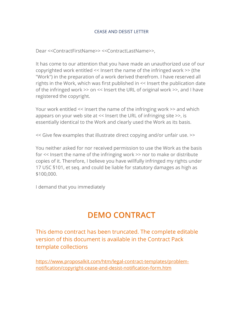 Copyright Cease And Desist Notification Form  Cease And Desist Template