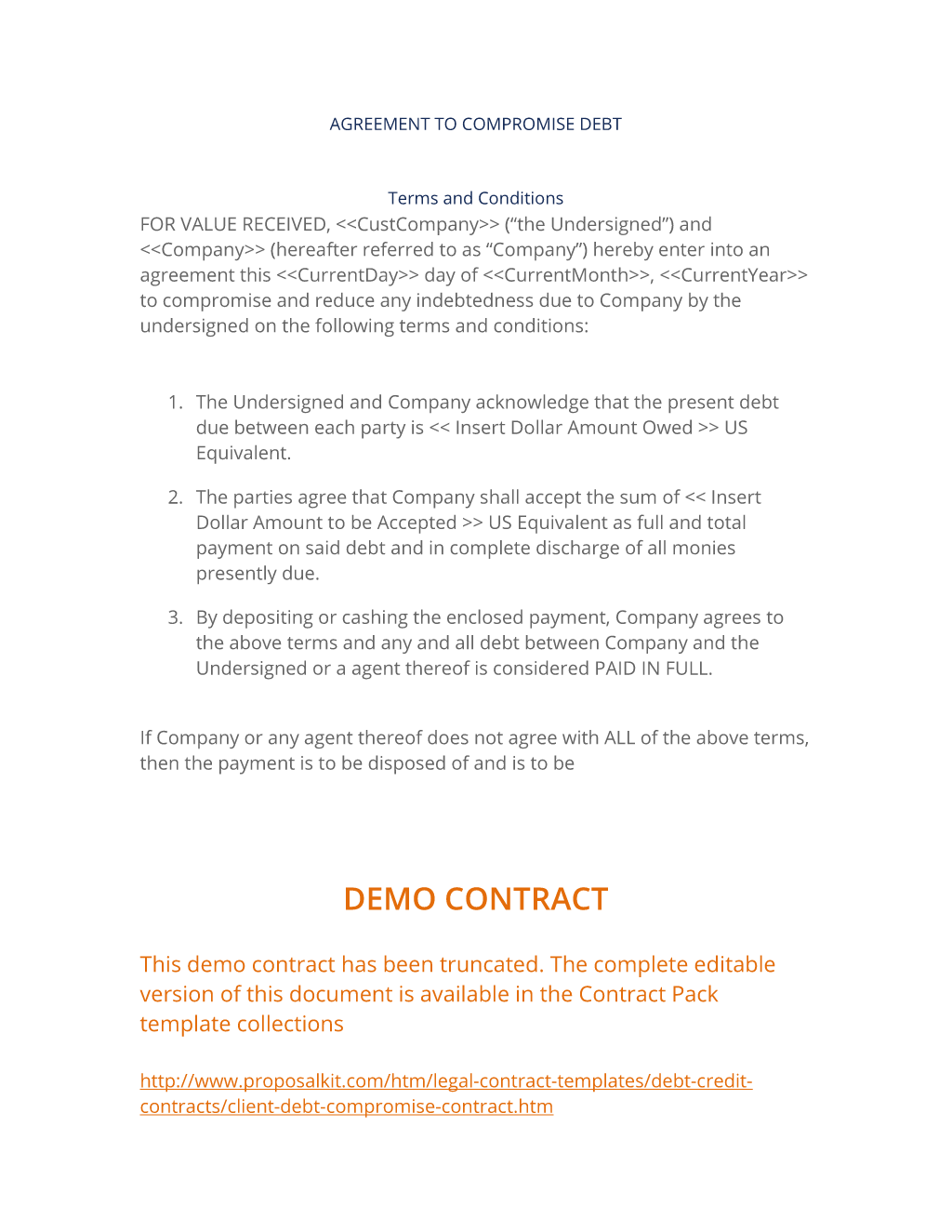 Client Debt Compromise Contract