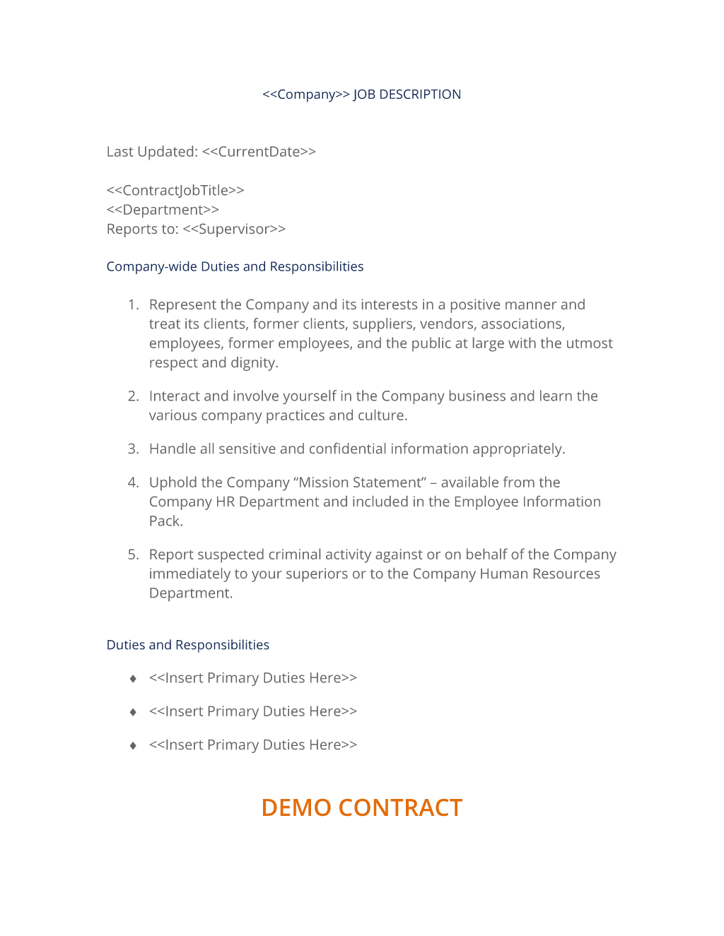 Company Job Description Form