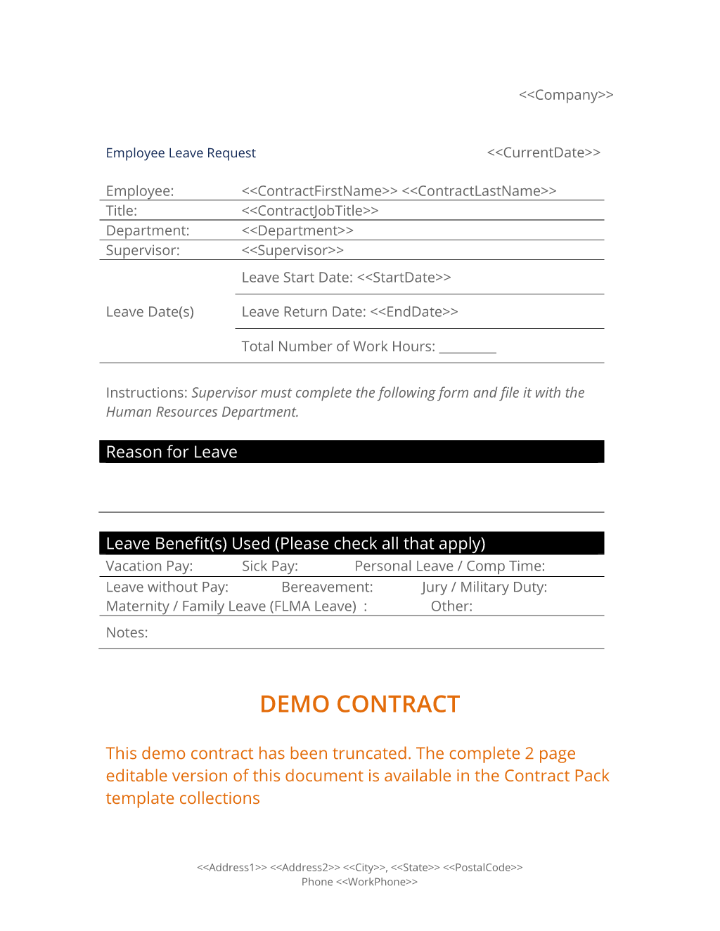Employee Leave Request Form  Employee Leave Application Form