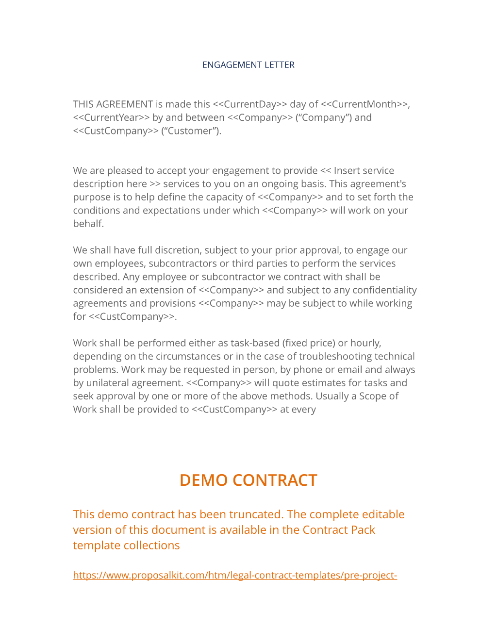 Engagement Letter - Legal contract for services template