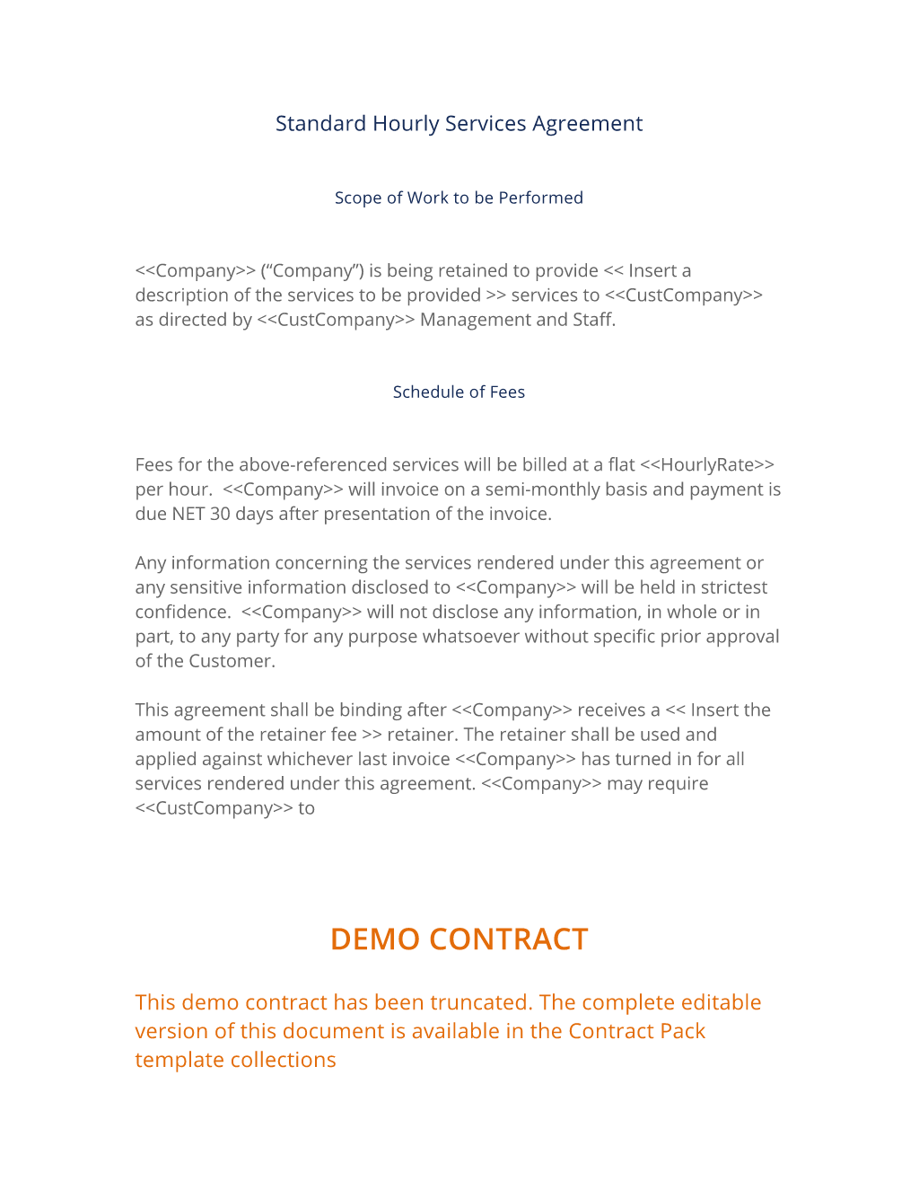 facilities management contract template - hourly services agreement 3 easy steps