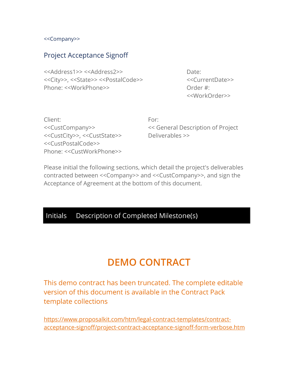Project Contract Acceptance Signoff Form (Verbose)