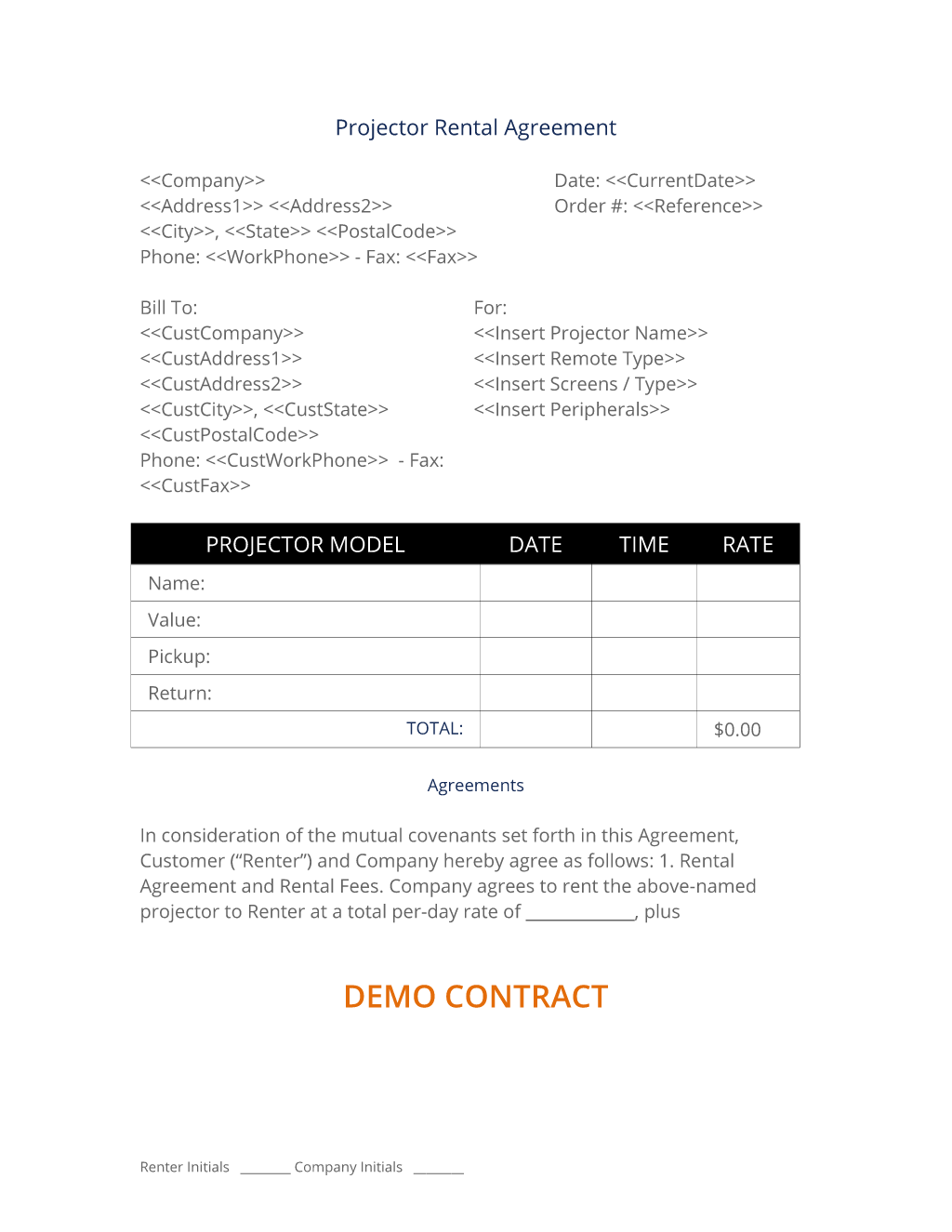 Projector Rental Agreement