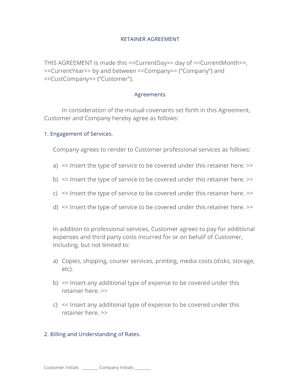 format of retainership contract