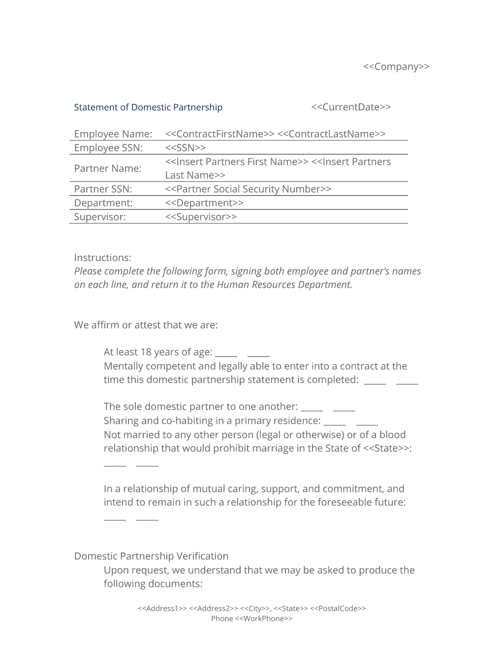 Statement of Domestic Partnership Form