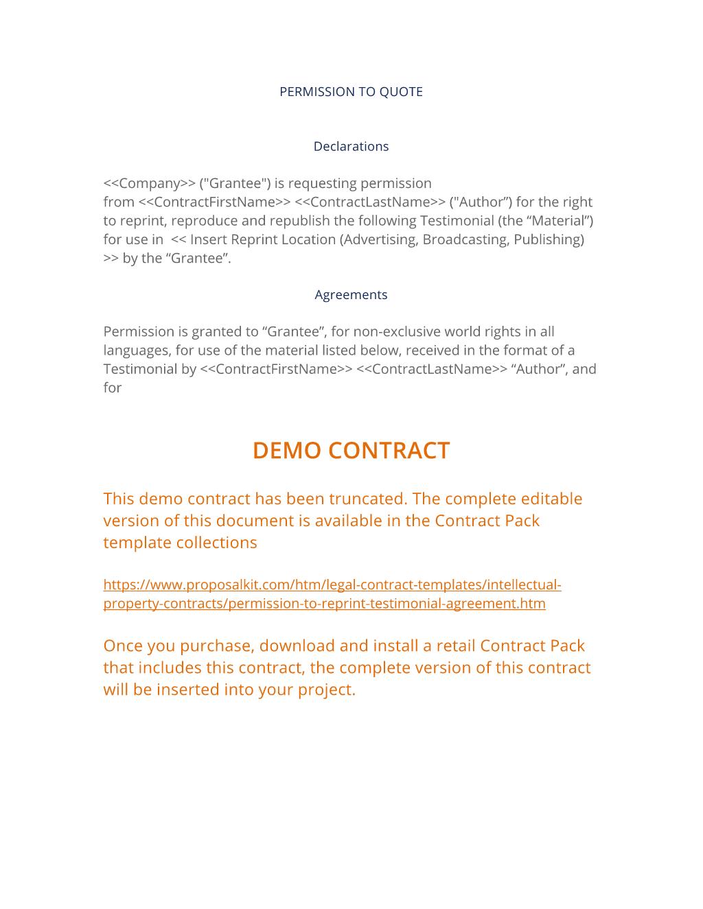 Permission To Reprint Testimonial Agreement 3 Easy Steps