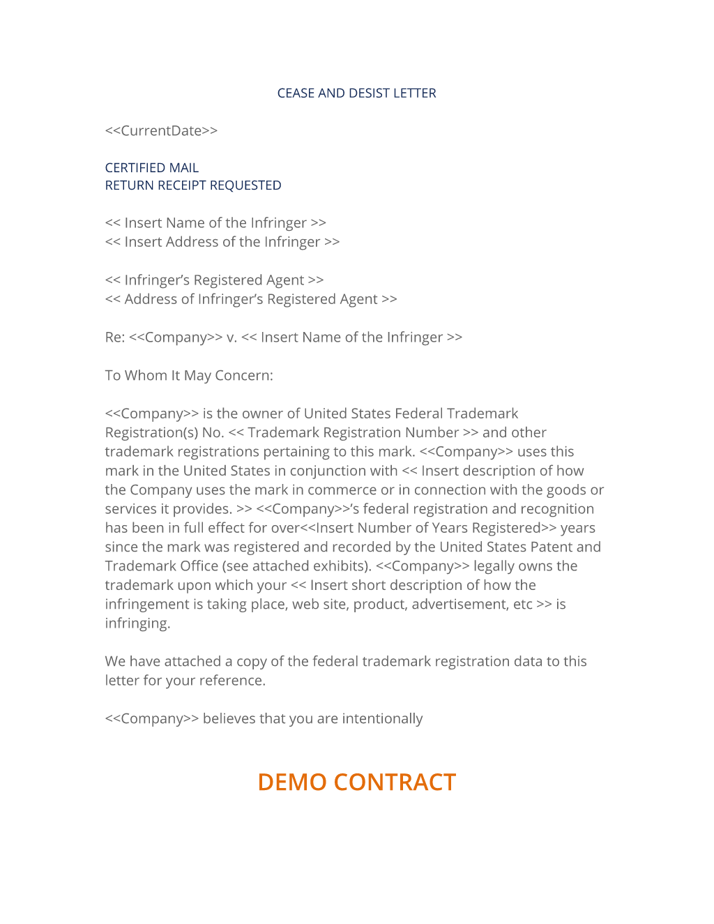 exclusivity letter template - trademark cease and desist notification form