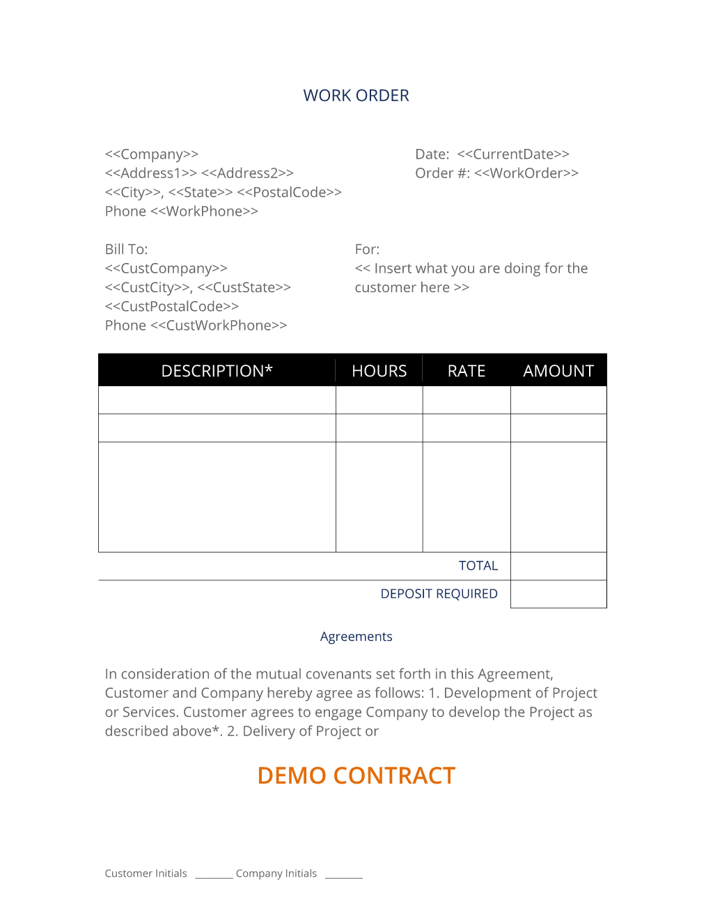 Apartment Work Order Template