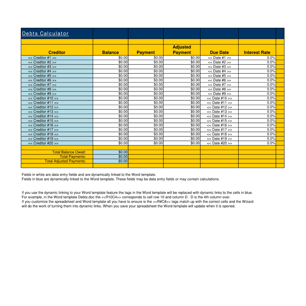 Debts Calculator