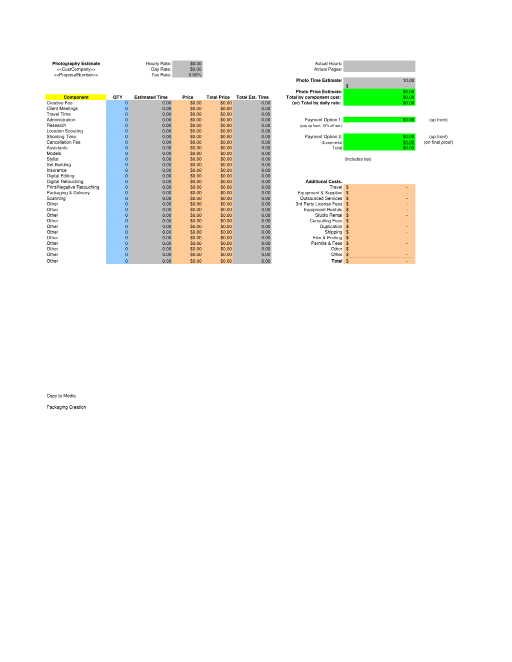 Photography Services Estimate Spreadsheet