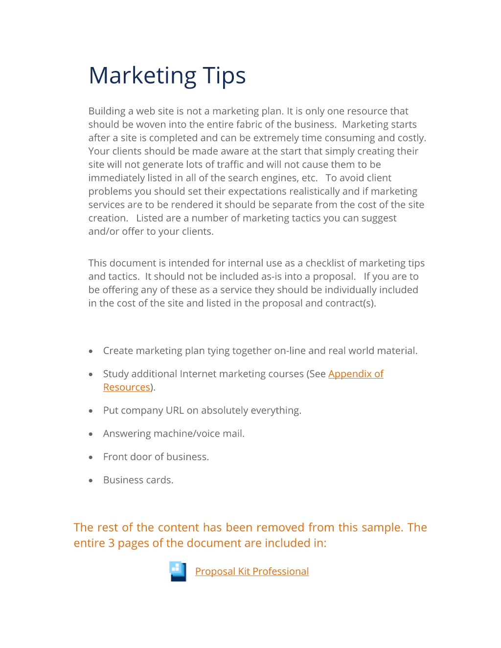 Project Marketing Tips