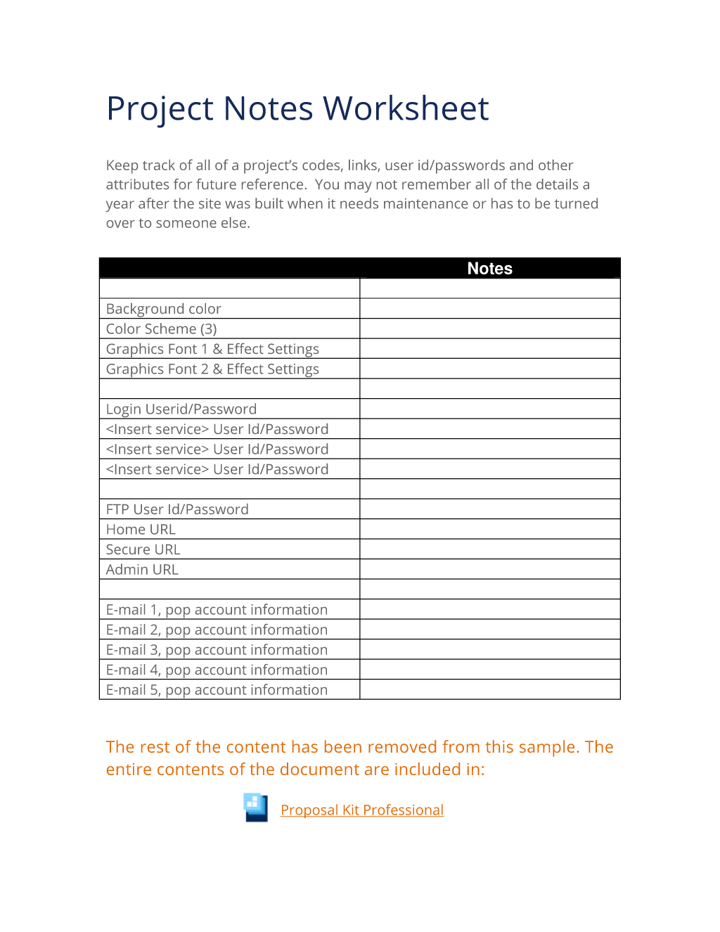 Project Notes Worksheet