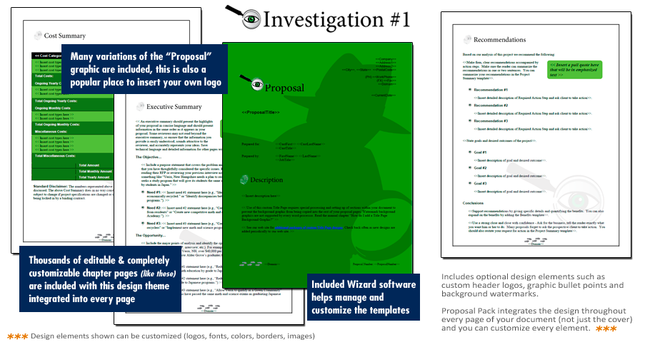 Proposal Pack Investigation 1 Software Templates Samples – Proposal Cover Page Design