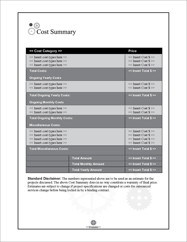 Proposal Pack Industrial #1 Cost Summary Page