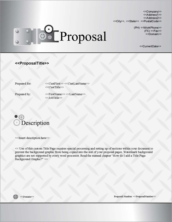 Proposal Pack Industrial #1 Title Page