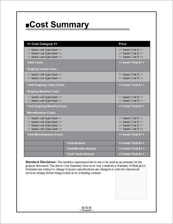 Proposal Pack Classic #1 Cost Summary Page