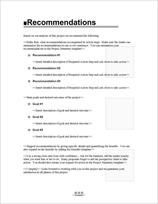 Proposal Pack Classic #1 Recommendations Page