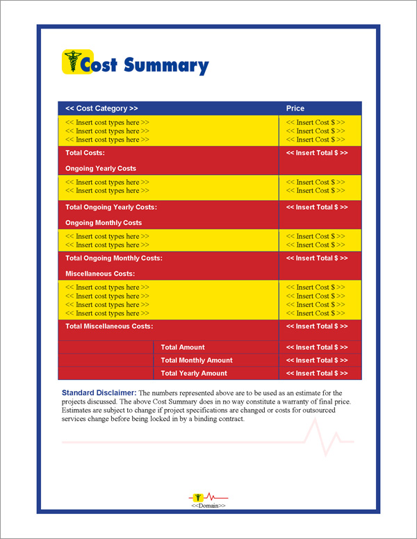Proposal Pack Medical #1 Cost Summary Page