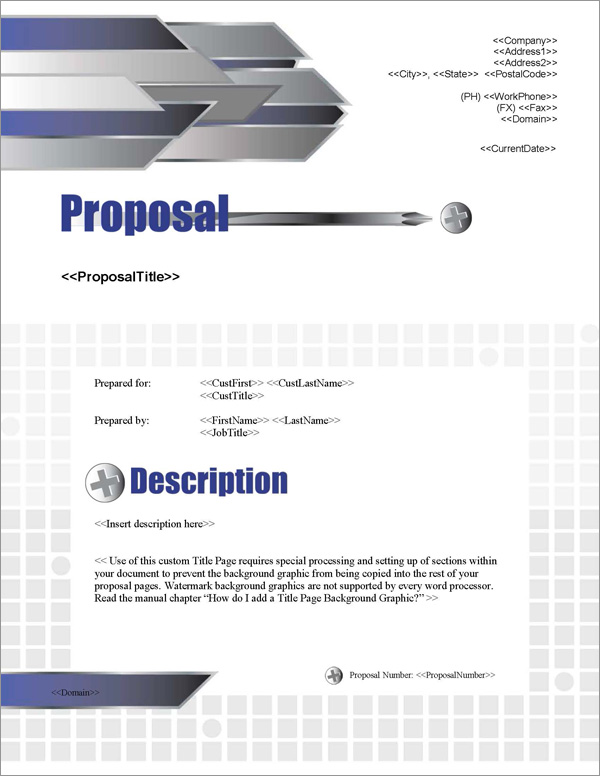 Proposal Pack Construction #1 Title Page