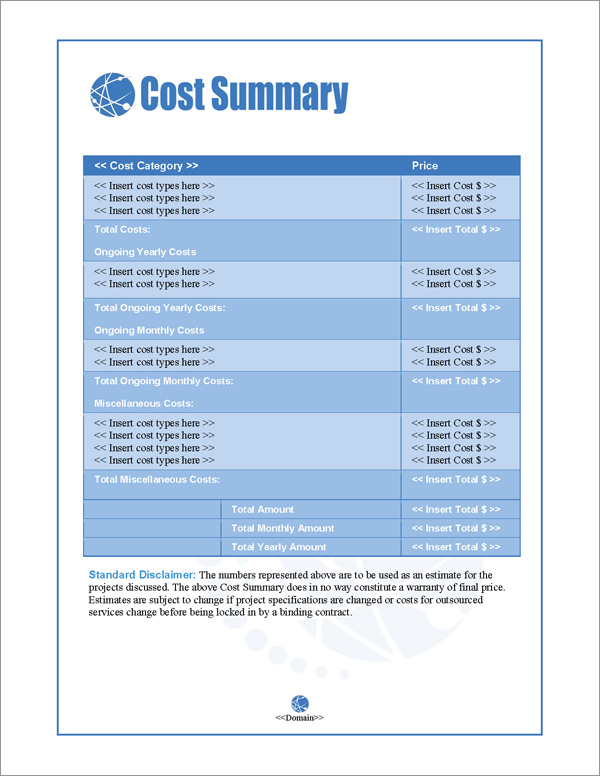 Proposal Pack Web #1 Cost Summary Page