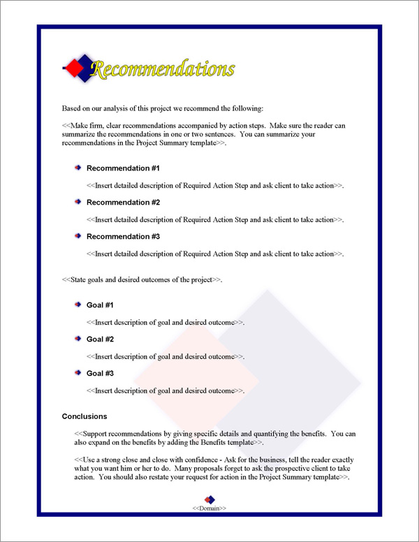 Proposal Pack Contemporary #2 Recommendations Page