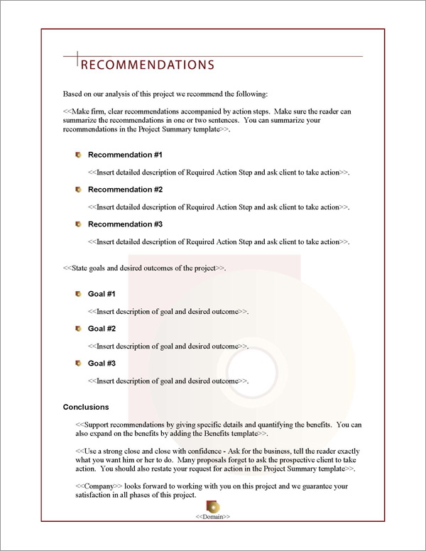 Proposal Pack Multimedia #2 Recommendations Page