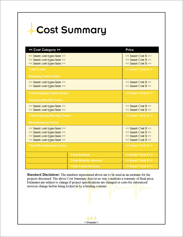 Proposal Pack Healthcare #1 Cost Summary Page