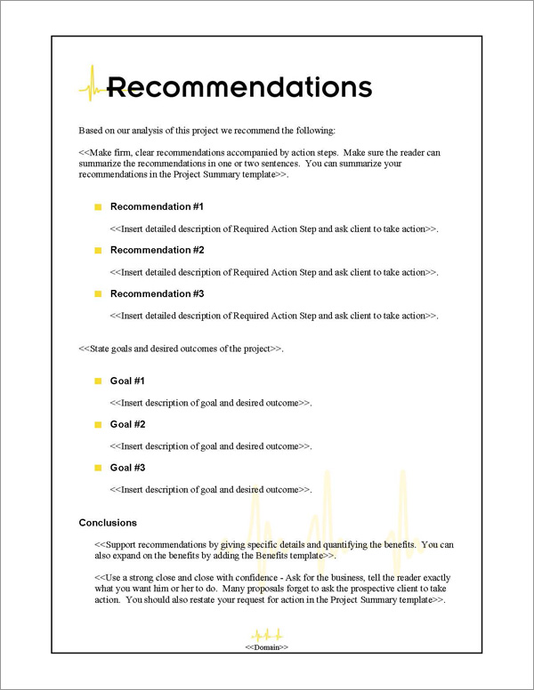 Proposal Pack Healthcare #1 Recommendations Page
