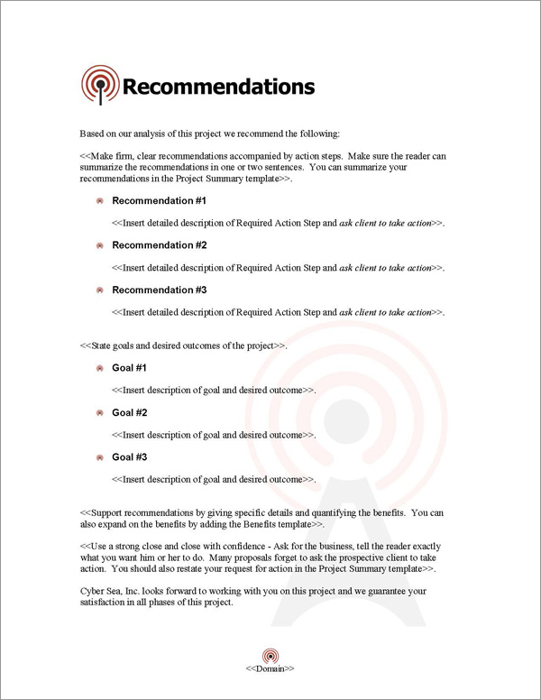 Proposal Pack Telecom #1 Recommendations Page