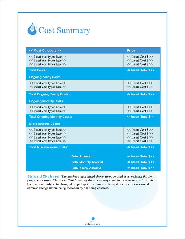 Proposal Pack Aqua #1 Cost Summary Page