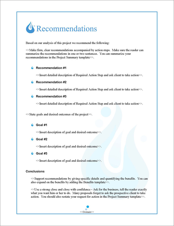 Proposal Pack Aqua #1 Recommendations Page
