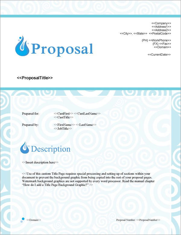 Proposal Pack Aqua #1 Title Page