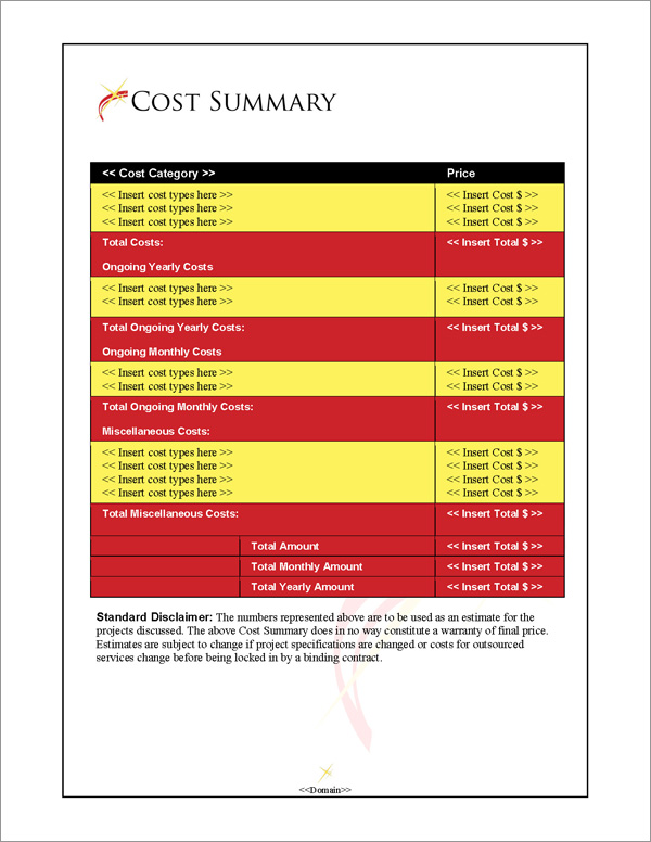 Proposal Pack In Motion #4 Cost Summary Page