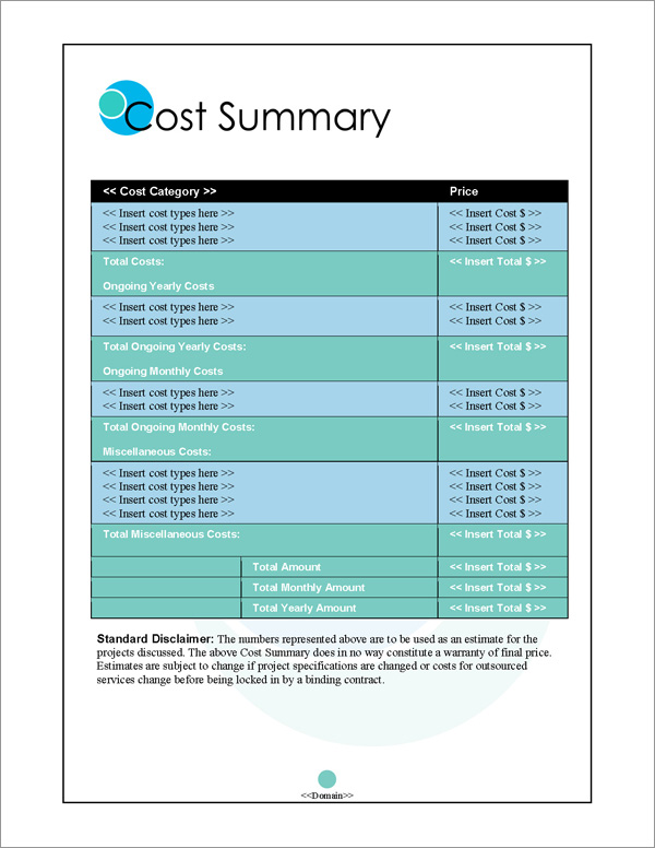 Proposal Pack Business #3 Cost Summary Page