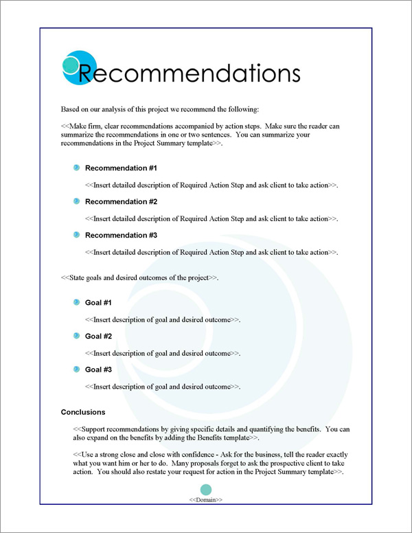 Proposal Pack Business #3 Recommendations Page