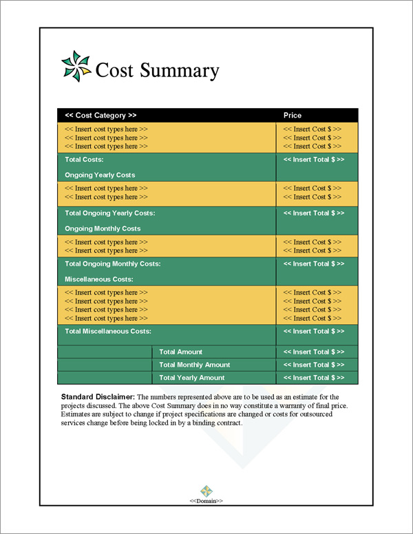 Proposal Pack Contemporary #5 Cost Summary Page