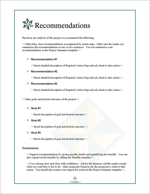 Proposal Pack Contemporary #5 Recommendations Page