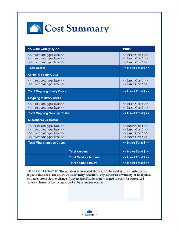 Proposal Pack Real Estate #1 Cost Summary Page