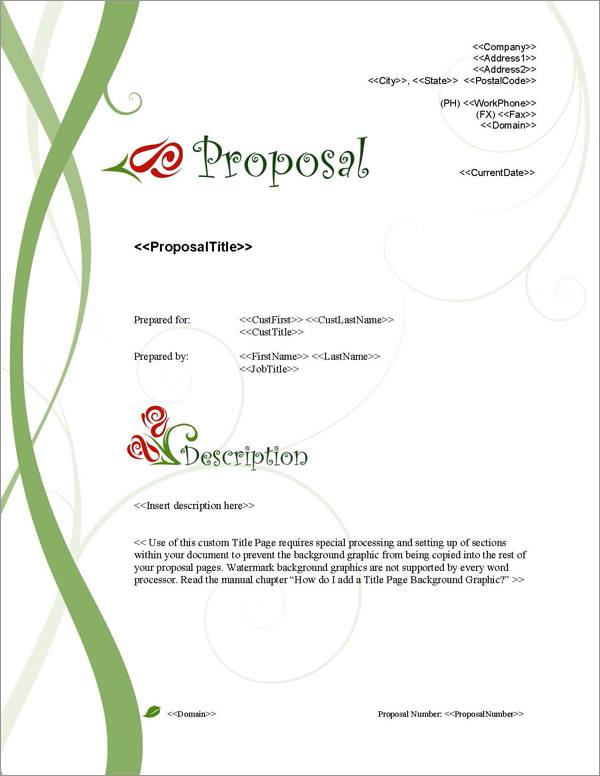 Proposal Pack Nature #1 Title Page
