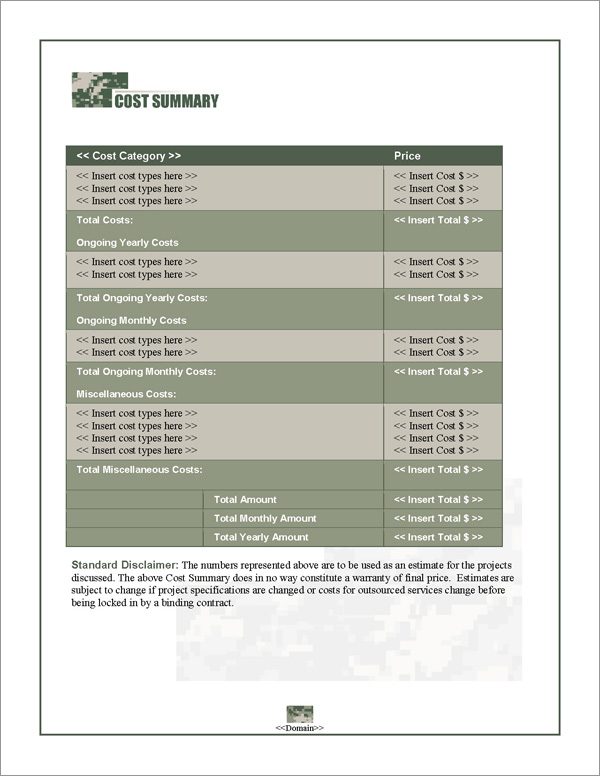 Proposal Pack Military #1 Cost Summary Page