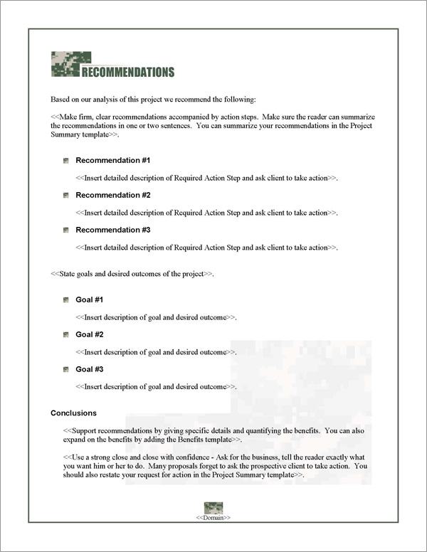 Proposal Pack Military #1 Recommendations Page