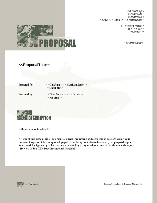 Proposal Pack Military #1 Title Page