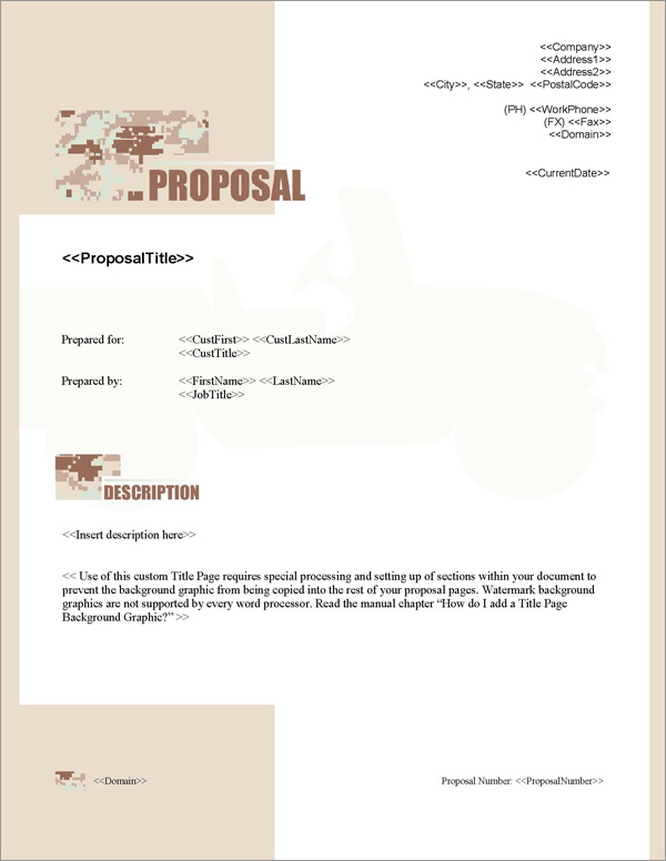 Proposal Pack Military #2 Title Page