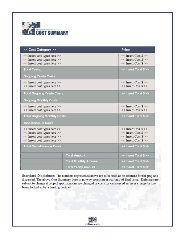 Proposal Pack Military #4 Cost Summary Page