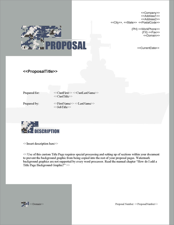 Proposal Pack Military #4 Title Page