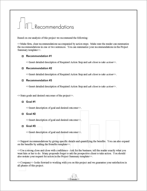Proposal Pack Skyline #3 Recommendations Page