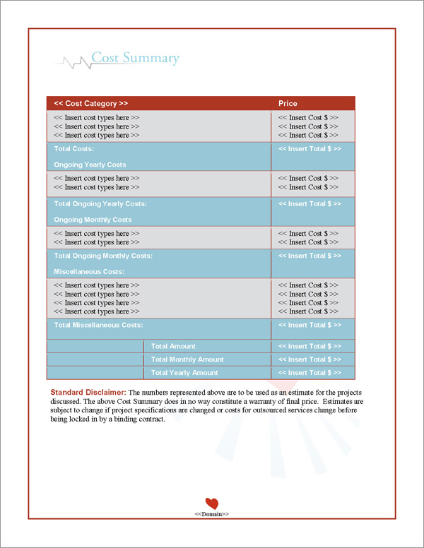 Proposal Pack Medical #6 Cost Summary Page
